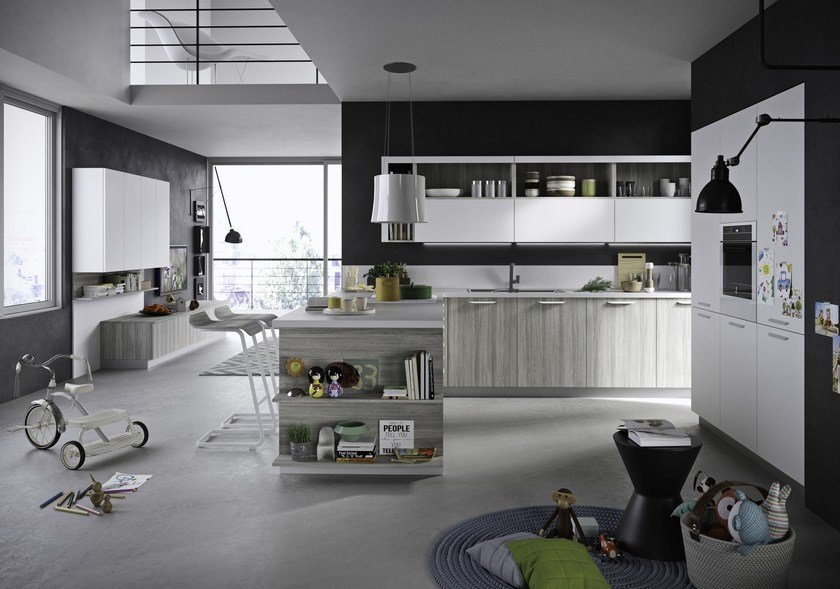 Fitted kitchen with integrated handles with peninsula FUN | Kitchen with peninsula by Snaidero