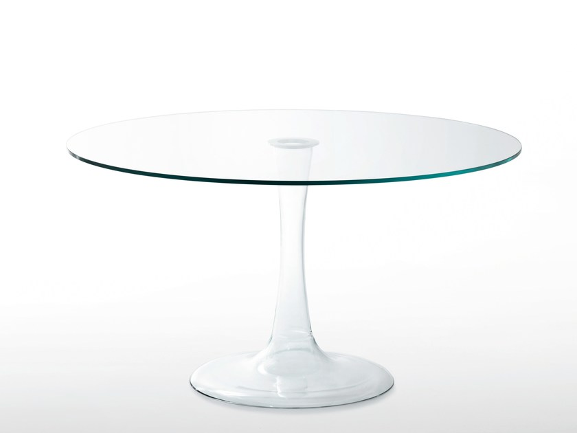 Round crystal table FUNGHETTI   Round table by Glas Italia