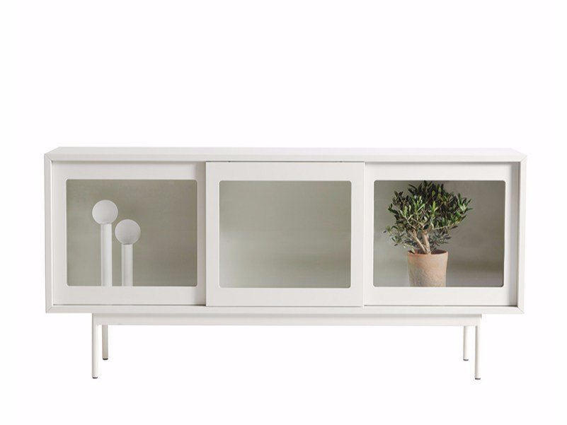 Lacquered sideboard with sliding doors FUNKIS 60:180 by ASPLUND