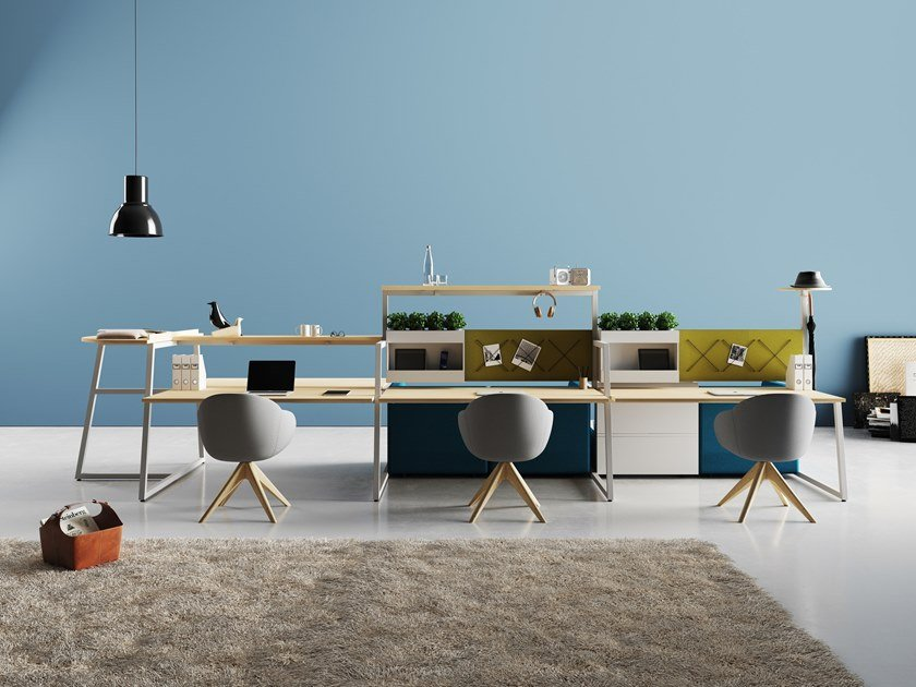 Workstation with high meeting table and lounge system FUSION   Multiple office workstation by CUF Milano