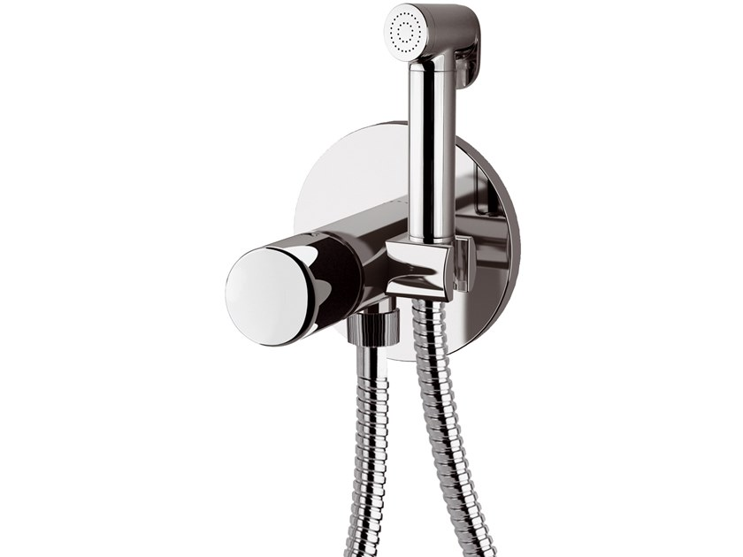 Recessed single handle brass shower mixer with hand shower FUSION | Shower mixer with flexible hose by Daniel Rubinetterie