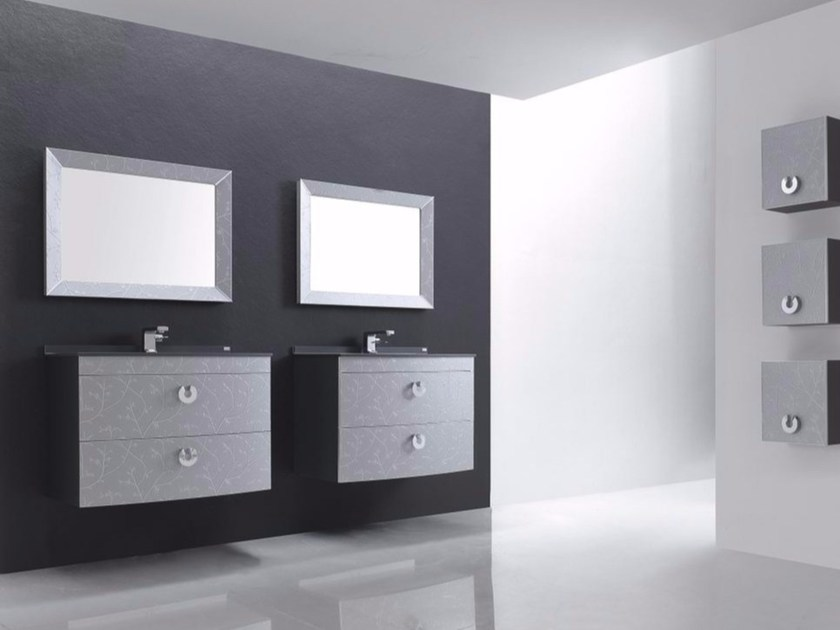Wall-mounted polyurethane vanity unit with drawers with mirror FUSSION FLORES 01 by Fiora
