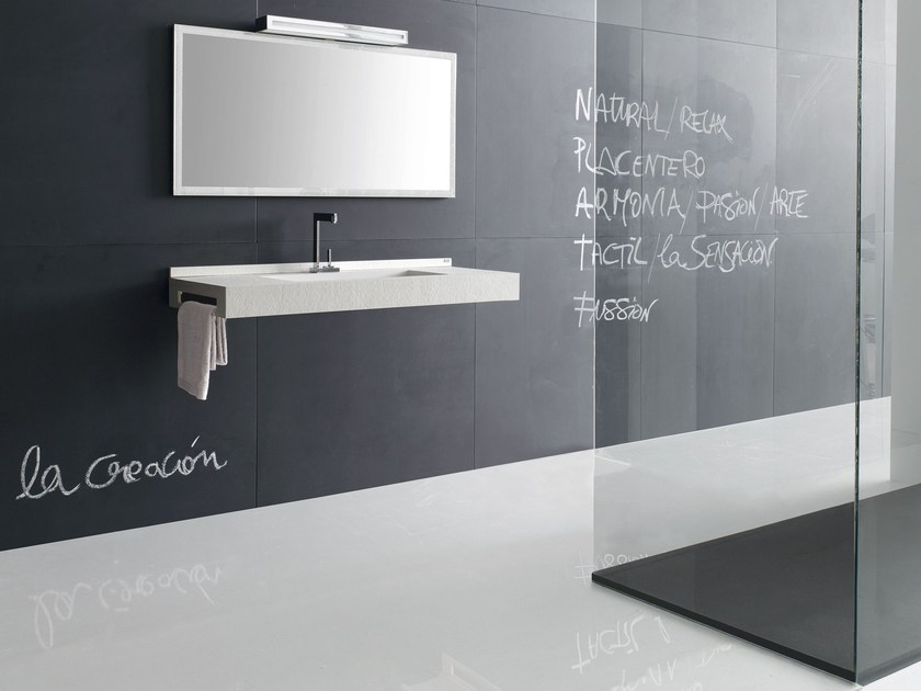 Rectangular wall-mounted washbasin with towel rail FUSSION FLORES 03 by Fiora