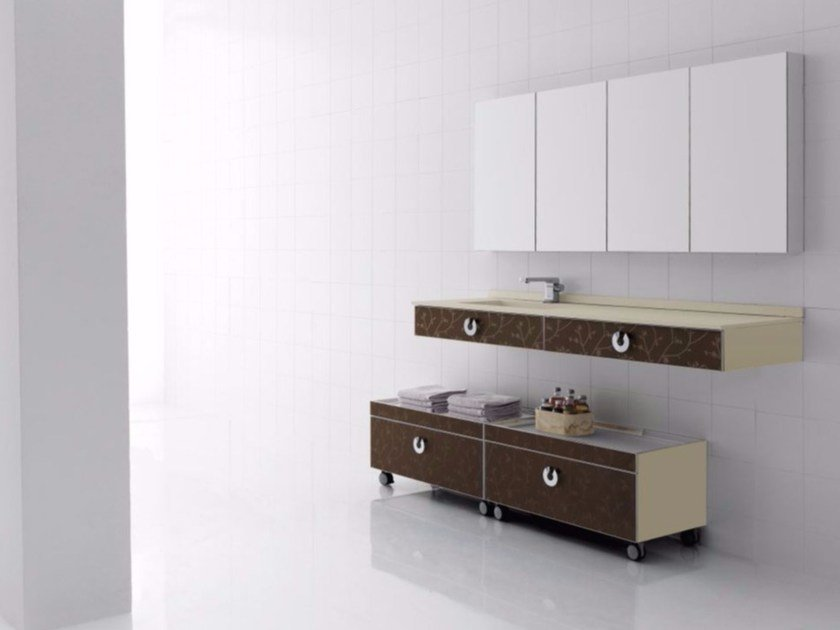 Polyurethane vanity unit with drawers with mirror FUSSION FLORES 04 by Fiora