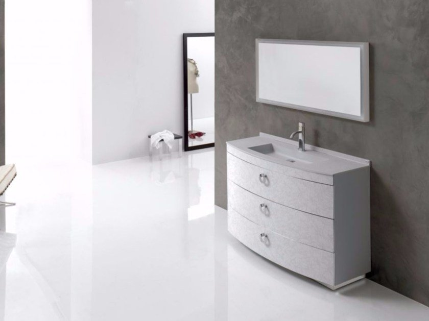 Single polyurethane vanity unit with drawers with mirror FUSSION NUBES 01 by Fiora