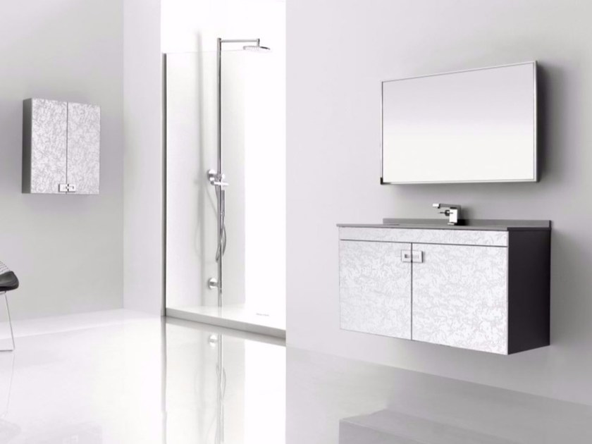 Wall-mounted polyurethane vanity unit with doors with mirror FUSSION NUBES 03 by Fiora