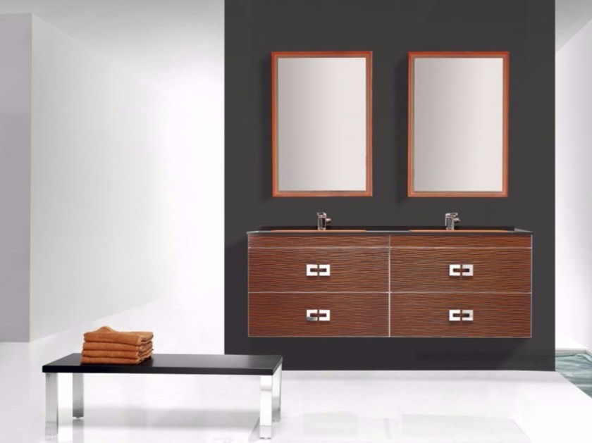 Wall-mounted polyurethane vanity unit with drawers with mirror FUSSION ONDAS 01 by Fiora