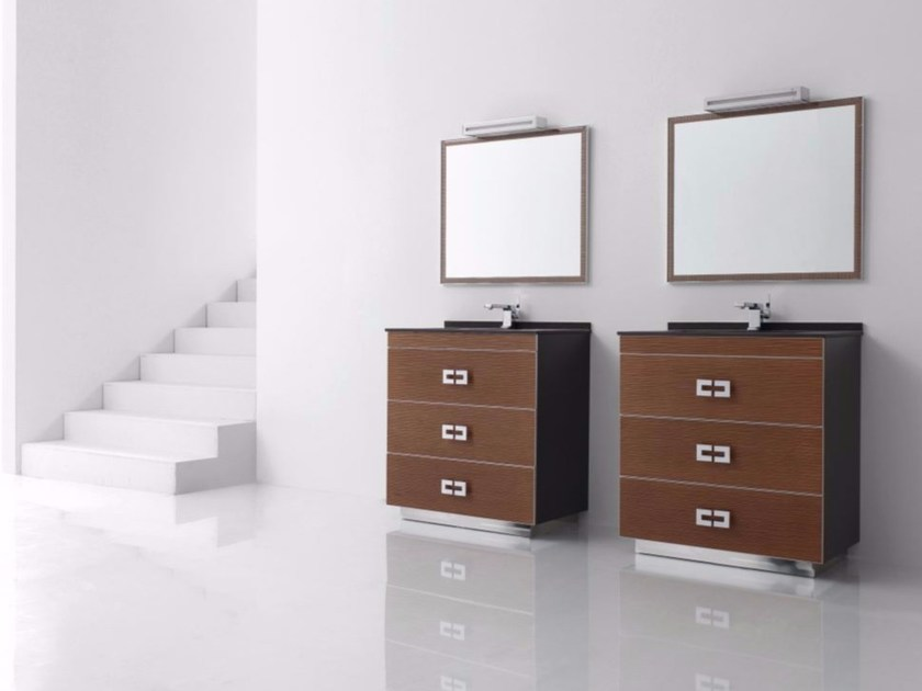 Single polyurethane vanity unit with drawers with mirror FUSSION ONDAS 03 by Fiora