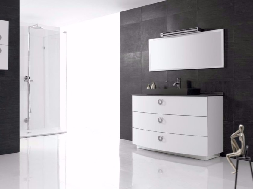 Polyurethane vanity unit with drawers with mirror FUSSION PLANO 03 by Fiora