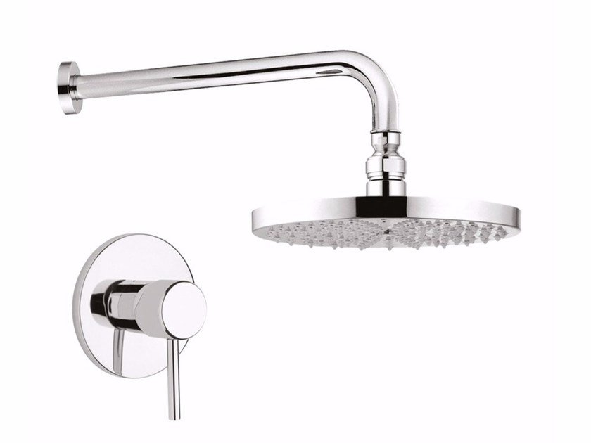 Single handle shower mixer with overhead shower FUTURO - F6515WB-25 by Rubinetteria Giulini