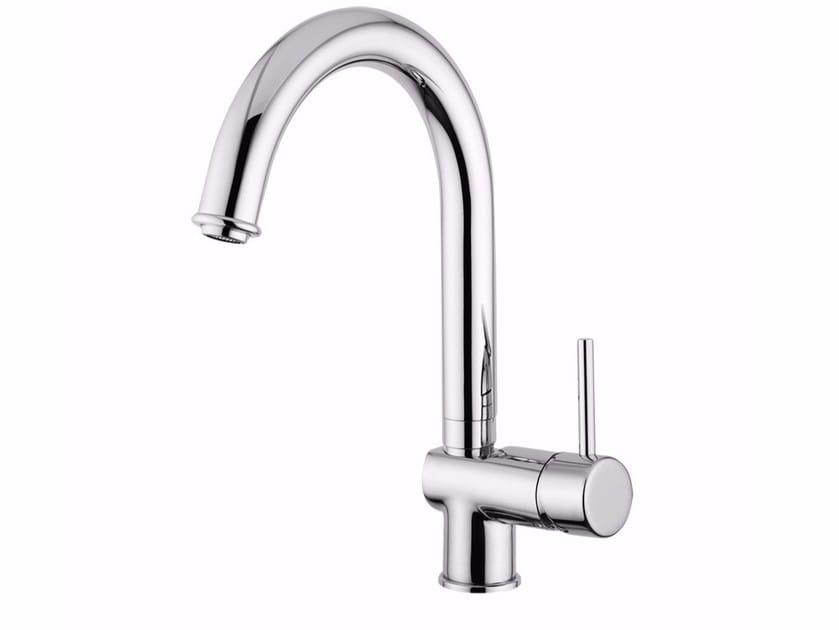 Countertop single handle washbasin mixer with adjustable spout FUTURO - F6527A by Rubinetteria Giulini