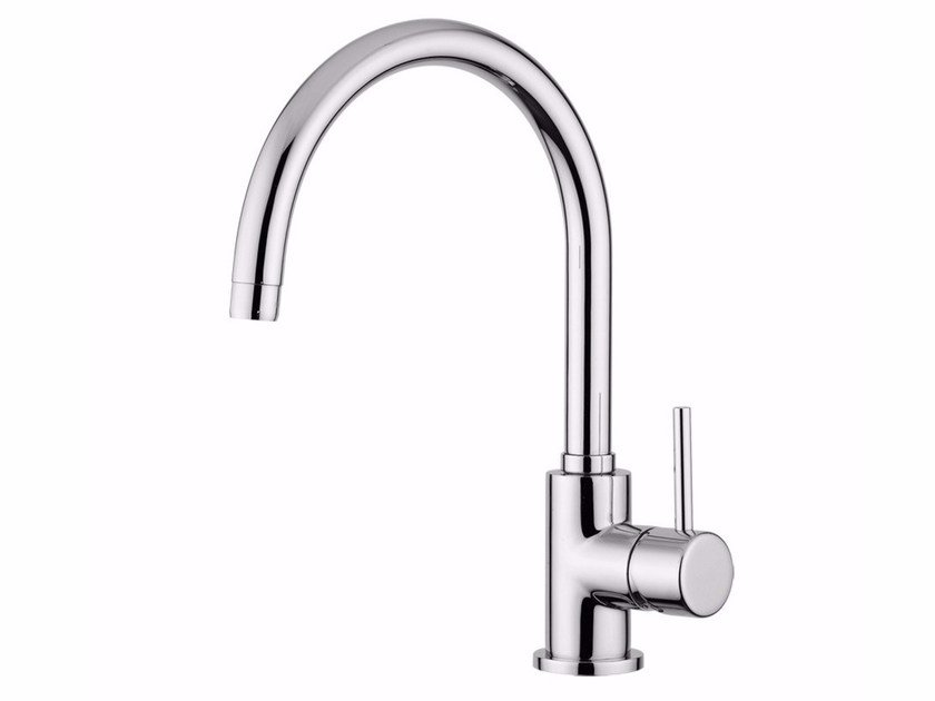 Countertop single handle washbasin mixer with adjustable spout FUTURO - F6581A by Rubinetteria Giulini