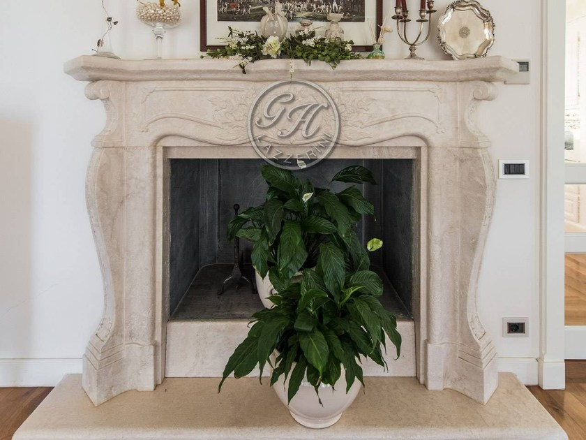 Wall-mounted natural stone fireplace Fireplace 15 by GH LAZZERINI