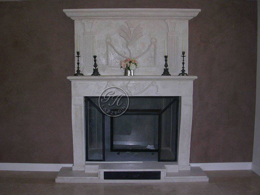 Wall-mounted natural stone fireplace Fireplace 16 by GH LAZZERINI