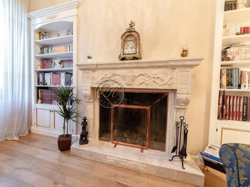 Wall-mounted natural stone fireplace Fireplace 3 by GH LAZZERINI