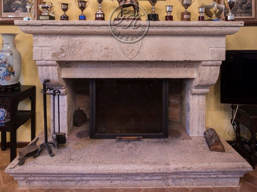 Wall-mounted natural stone fireplace Fireplace 6 by GH LAZZERINI