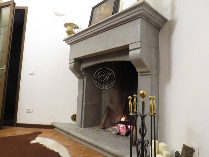 Wall-mounted natural stone fireplace Fireplace 7 by GH LAZZERINI