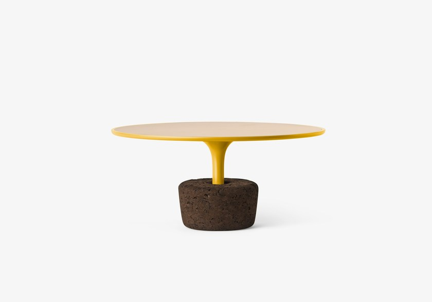 Round wooden coffee table Flora Wide Low / dry yellow by DAM