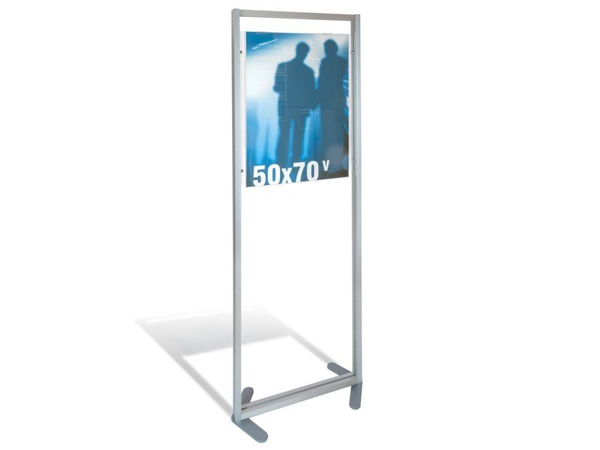 Double-sided floor-standing Anodized aluminium display unit Freestandng display stand poster 50x70 by STUDIO T