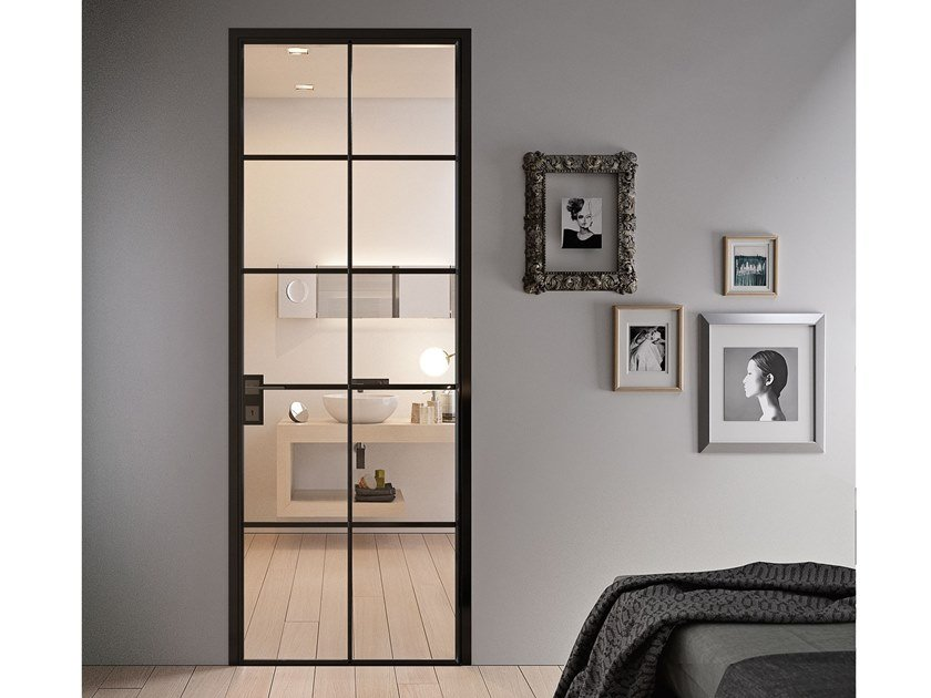 Contemporary style hinged aluminium door with concealed hinges G-LIKE CROSS by GIDEA