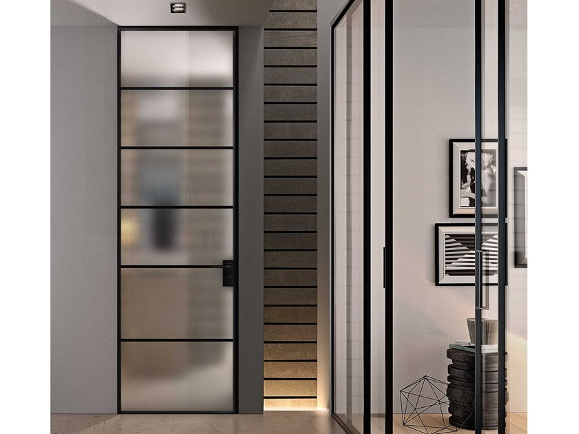 Contemporary style hinged aluminium door with concealed hinges G-LIKE LINE by GIDEA