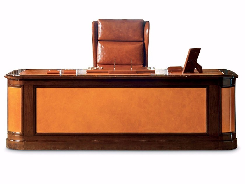 Rectangular Leather Executive Desk With Drawers G20 Office By Mascheroni