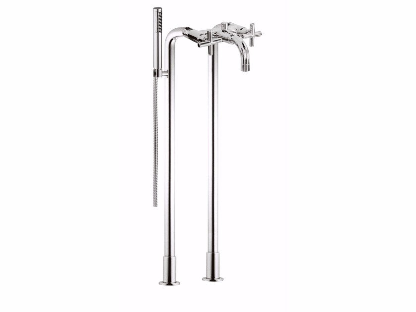 Floor standing bathtub tap with hand shower G3 - 7601CT by Rubinetteria Giulini