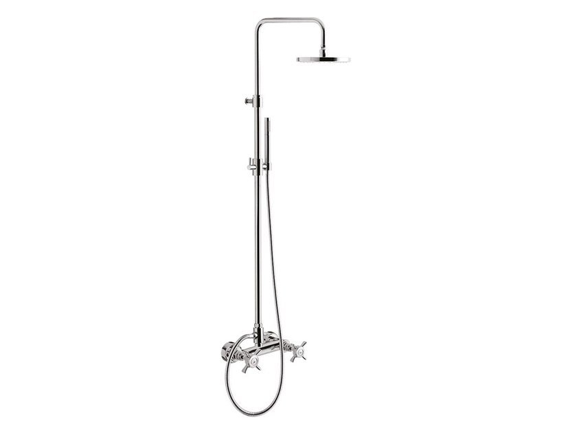 Wall-mounted shower panel with overhead shower G5 F7907WC-S by Rubinetteria Giulini