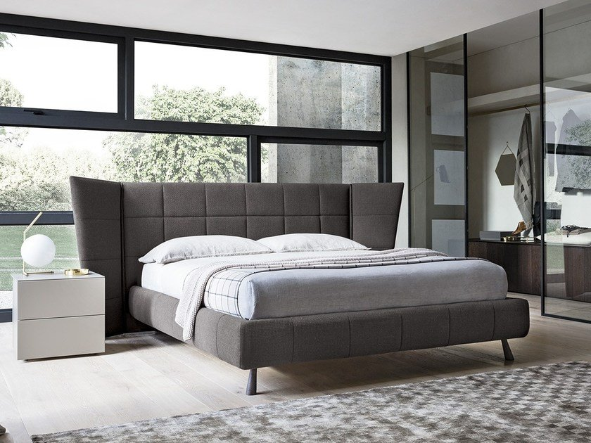 Fabric storage bed with upholstered headboard GABER by Felis
