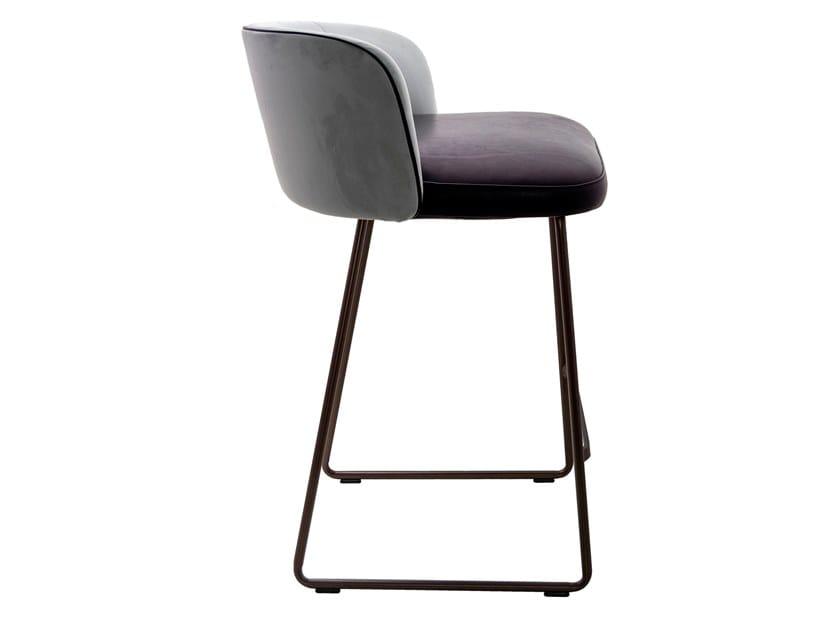 High sled base leather stool with back GAIA LINE   Sled base stool by KFF
