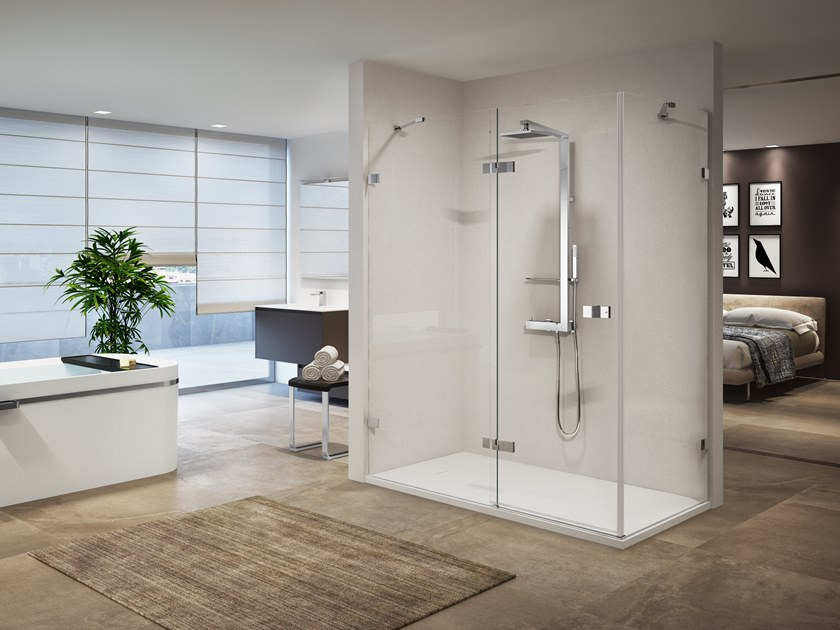 Corner shower cabin with hinged door GALA 2P+F by NOVELLINI