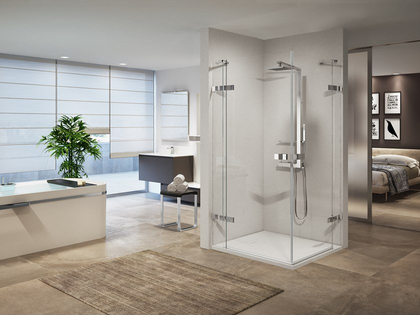 Corner shower cabin with hinged door GALA A by NOVELLINI