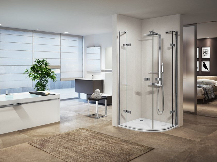 Corner semicircular shower cabin with hinged door GALA R by NOVELLINI