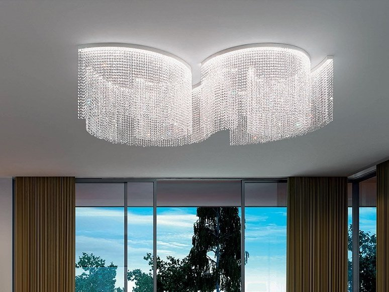 LED crystal ceiling lamp with dimmer GALASSIA T2 SNG by Masiero