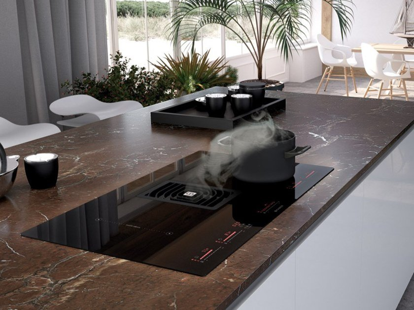 Induction hob with integrated hood GALILEO by FABER