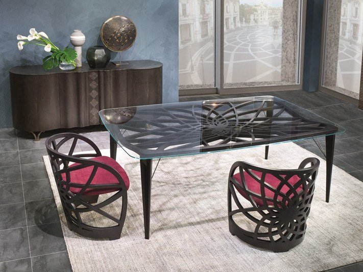 Rectangular wood and glass table GALILEO | Rectangular table by Carpanelli