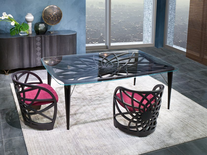 Rectangular wood and glass table GALILEO | Wood and glass table by Carpanelli Contemporary