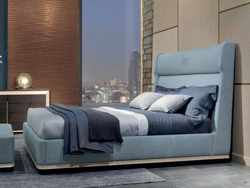 Fabric double bed with high headboard GALILEO | Upholstered bed by Carpanelli