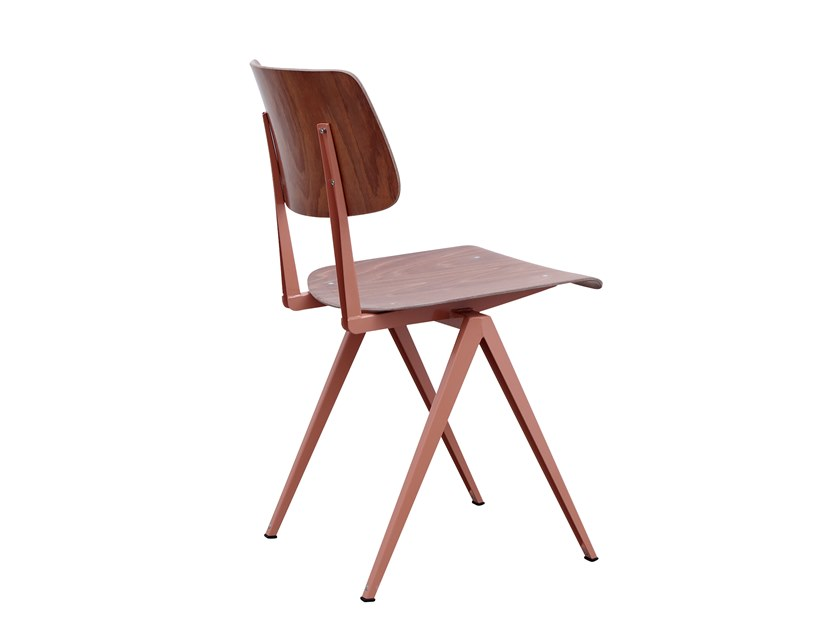 Steel and wood chair GALVANITAS S16 - Beige red/brown by De Machinekamer