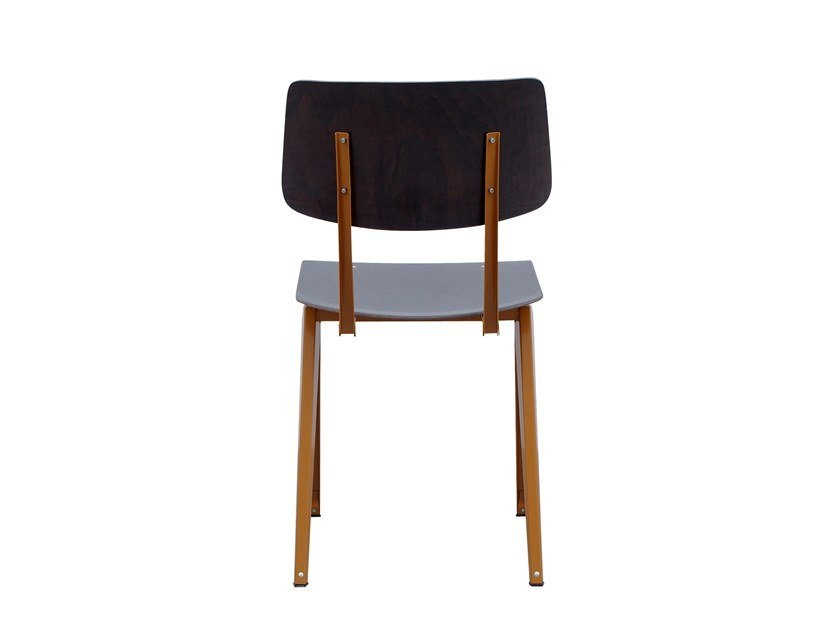 Steel and wood chair GALVANITAS S16 - Brown ochre/Ebony by De Machinekamer