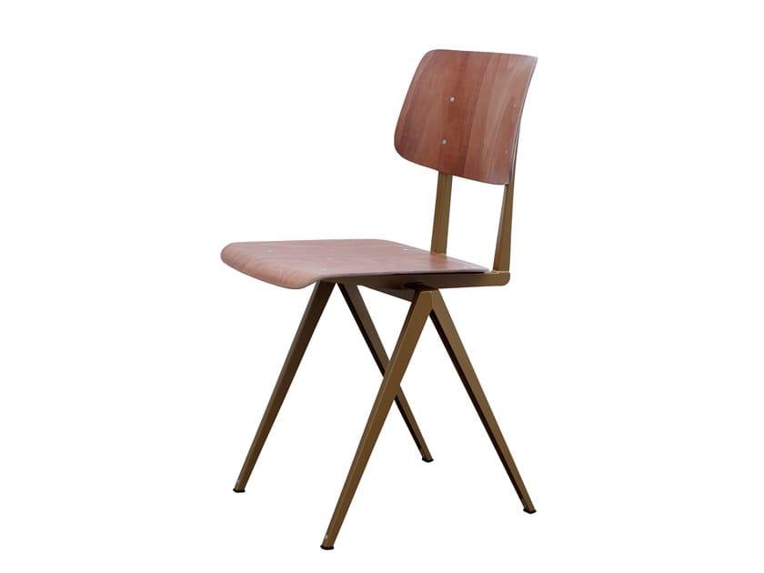 Steel and wood chair GALVANITAS S16 - Pearl gold/brown by De Machinekamer