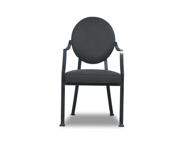 Upholstered leather chair with armrests GAMBRETTA by BAXTER