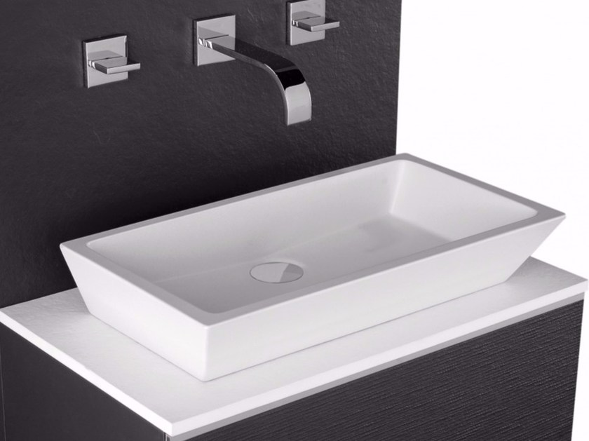 Countertop rectangular single Silexpol® washbasin GAMMA by Fiora