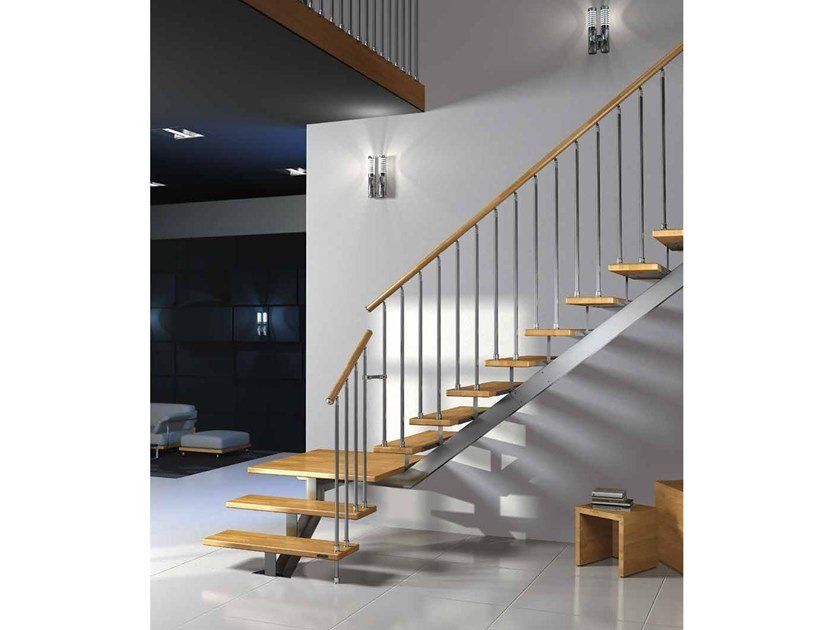 Wooden Open staircase with central stringer GAMMA by MOBIROLO