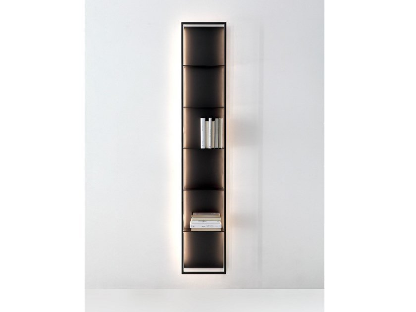 Wall-mounted floating bookcase with built-in lights GAP by Porro