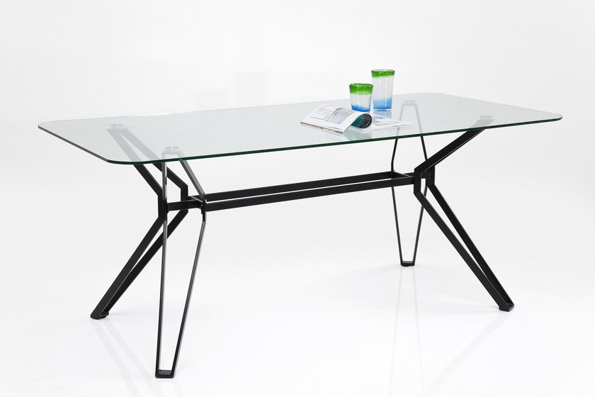 Rectangular glass and steel table GARBO by KARE-DESIGN