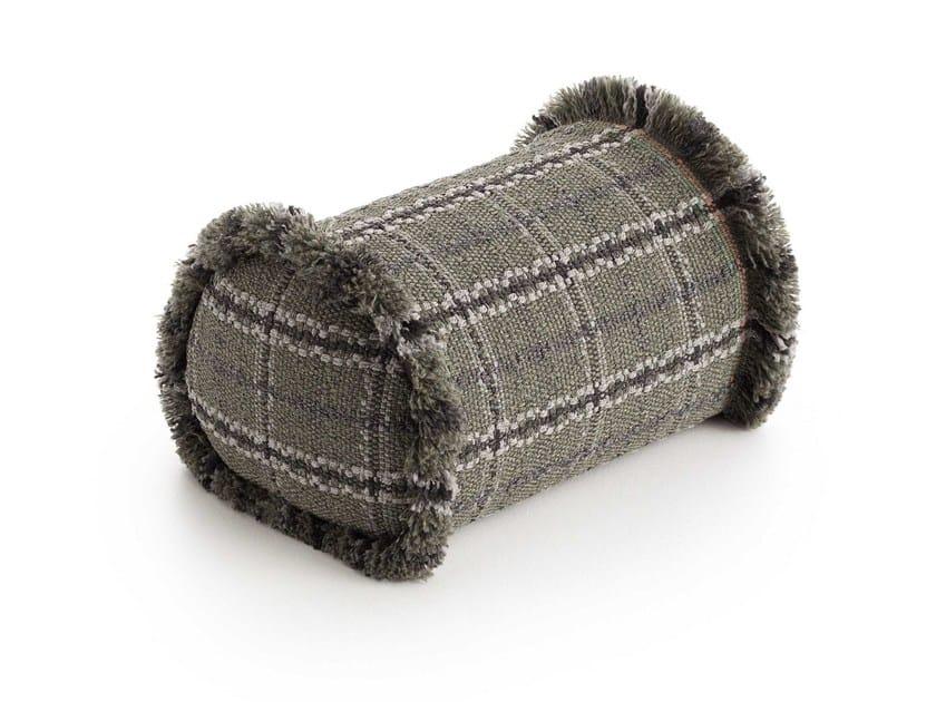 Check roll outdoor polypropylene cushion GARDEN LAYERS GREEN | Roll cushion by GAN