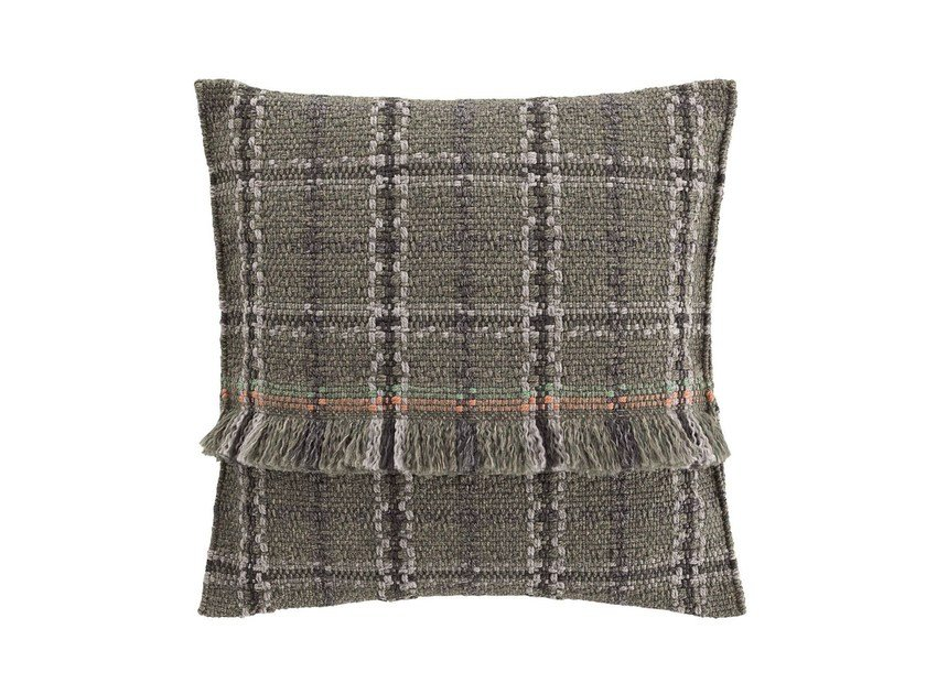 Square tartan outdoor polypropylene cushion GARDEN LAYERS GREEN | Square cushion by GAN