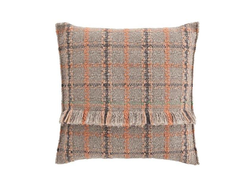 Square tartan outdoor polypropylene cushion GARDEN LAYERS TERRACOTTA | Square cushion by GAN