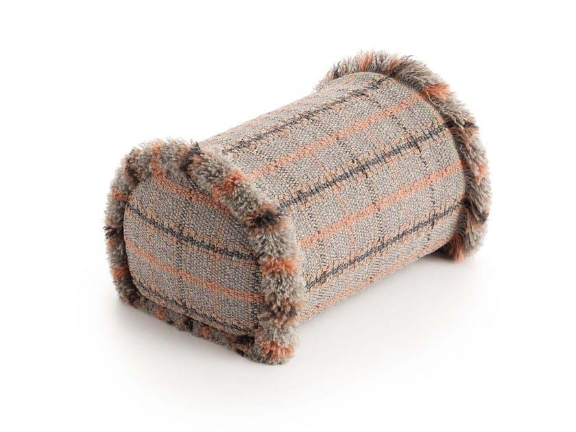 Roll tartan outdoor polypropylene cushion GARDEN LAYERS TERRACOTTA | Roll cushion by GAN